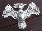 Steampunk Bird Pendant in Polished Silver