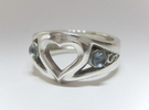 Heart Ring(Inner diameter of ring 16mm) in Polished Silver