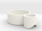 tea candle holder (handle) in White Strong & Flexible Polished