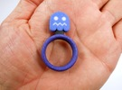 "Pac-Man ""Blue Enemy"" Ghost Ring in Full Color Sandstone"