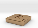 """R"" Tile in Polished Brass"