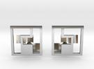 Tetromino Cufflinks in Premium Silver