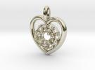 Halo Heart Pendant in 14k White Gold