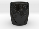 Tree Patterned Mug 1 in Matte Black Porcelain