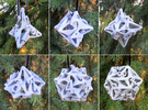 Pinwheel Dice Ornament Set in White Strong & Flexible