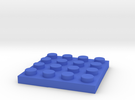 Toy Brick flat 4x4 in Blue Strong & Flexible Polished
