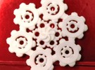 Snowflake of Cogs in White Strong & Flexible Polished