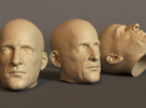 Generic Male Head for 1/6 scale figure - Variant  in White Strong & Flexible
