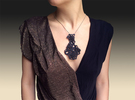 Dentelle Pendant Necklace in Black Strong & Flexible