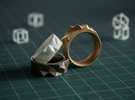 Triangulated Ring - 20mm in White Strong & Flexible Polished