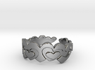 Open Layered Hearts Ring Size 8 in Premium Silver