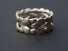 8 Hearts Ring (Size 18) in Polished Silver