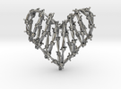 Barbed Wire Heart Cage Pendant in Raw Silver