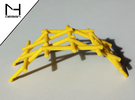 Leonardo Da Vinci's self supporting bridge(Medium) in Yellow Strong & Flexible Polished
