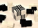 Cube Puzzle, 4 white pieces only  in White Strong & Flexible Polished