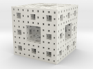 Menger sponge - 3 steps in White Strong & Flexible