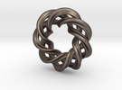 3 strand right hand mobius spiral charm bead in Stainless Steel