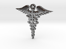 Caduceus pendant in Polished Silver