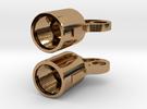 Winding Key earring valve caps in Polished Brass