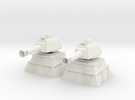 28mm Tank Cannon Turret and Bunker (x2) in White Strong & Flexible