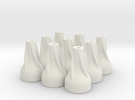 9X Spiral Finned Blowgun Dart Cones in White Strong & Flexible
