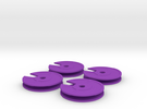 4x New Quarter Inch Dial in Purple Strong & Flexible Polished