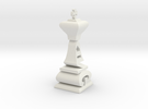 Typographical King Chess Piece in White Strong & Flexible