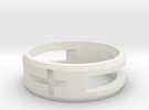 Double Cross Ring (Less Material) in White Strong & Flexible