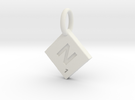 SCRABBLE TILE PENDANT  N  in White Strong & Flexible