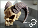 Horned Demonic Skull, Matilda in Full Color Sandstone
