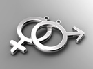 Male - Mars - Gender Symbol in Raw Silver
