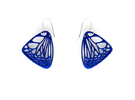 Butterfly Earrings (S) Plastic in Blue Strong & Flexible Polished