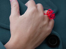 Fronds Flower Rings - Various Sizes in Red Strong & Flexible Polished