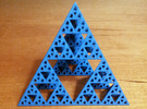 Geometric Sierpinski Tetrahedron level 4 in Blue Strong & Flexible Polished