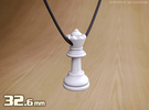 PENDANT : CHESS QUEEN (small - 32.6mm) in White Strong & Flexible