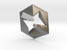 Flat Cube in Raw Silver