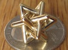 Four Tangled Triangles Small in Polished Brass