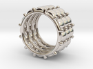 CACTUS 3 RING  S 7.5 in Rhodium Plated