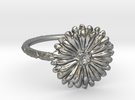 Thin Daisy Ring 7 in Raw Silver