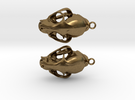 Bobcat Skull Earring Pair (2) - Horizontal Loop in Raw Bronze
