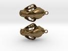 Bobcat Skull Earring Pair (2) - Horizontal Loop in Raw Bronze