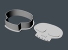 Skull Cookie Cutter 1 in White Strong & Flexible Polished