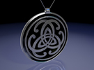 Doublesided Celtic Knot Pendant ~ 44mm(1 3/4 inch) in Polished Silver