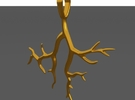 Tree Branch Pendant Type 2 in Polished Gold Steel
