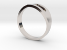 H Ring in Rhodium Plated