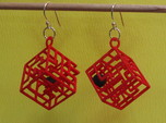 3D Maze Cube Earrings with Rolling Ball