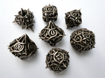 Thorn Dice Set with Decader, 7 Piece Die Set in Polished Bronzed Silver Steel
