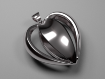 Heart pendant v.1 in Polished Silver
