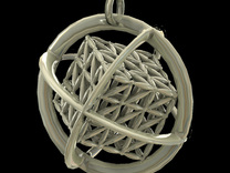 Flower of Life MetaCube with Rings pendant in Stainless Steel