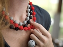 Textured Ball Necklace - 46cm in Polished Metallic Plastic